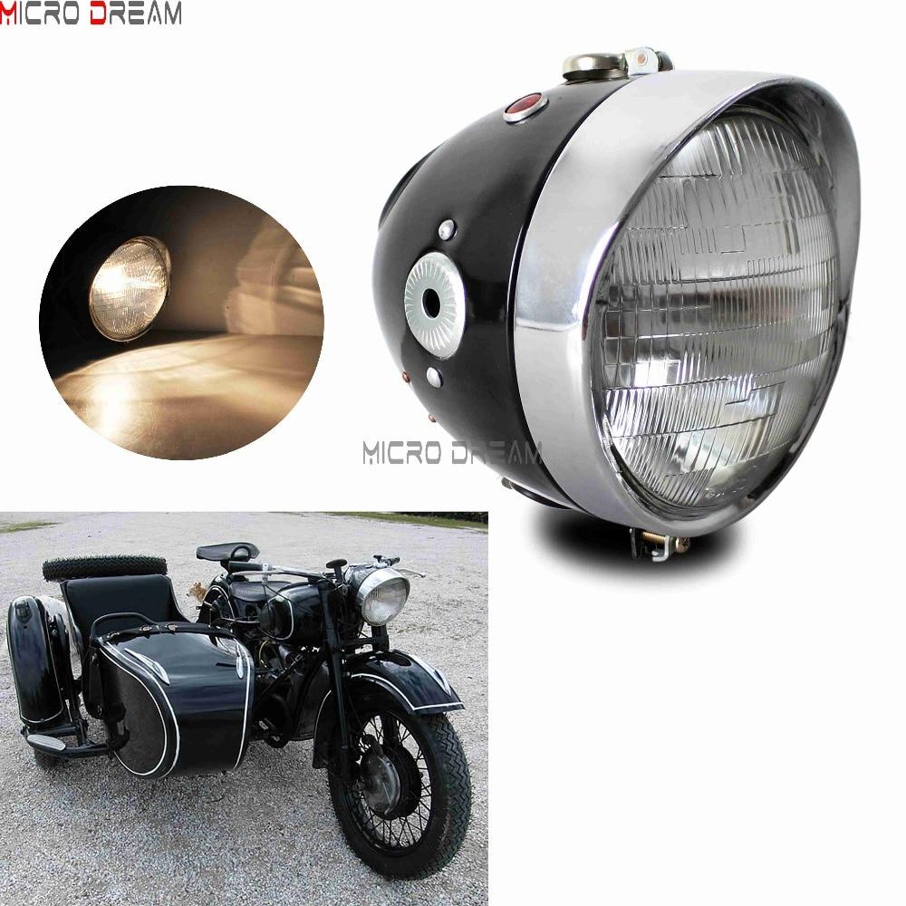 7/'/' Ural Dnepr Sidecar Black Headlight Headlamp For BMW R12 R71 R75 K750 M1 M72