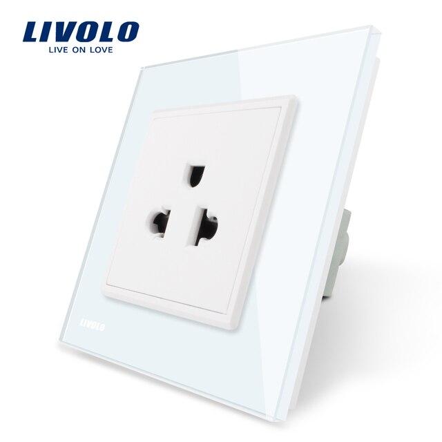 Livolo EU Standard US Power Socket, White Crystal Glass Panel, 110 ...