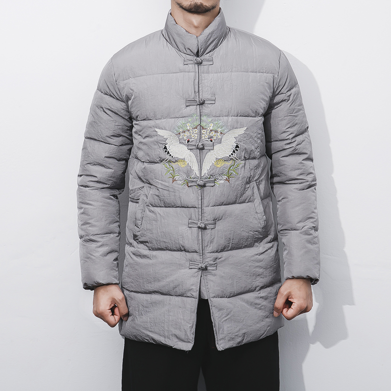 Men Winter Fashion Casual font b Parkas b font Jacket Chinese Style Stand Collar Embroidery Padded