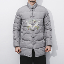 Men Winter Fashion Casual Parkas Jacket Chinese Style Stand Collar Embroidery Padded Cotton Coat Outerwear