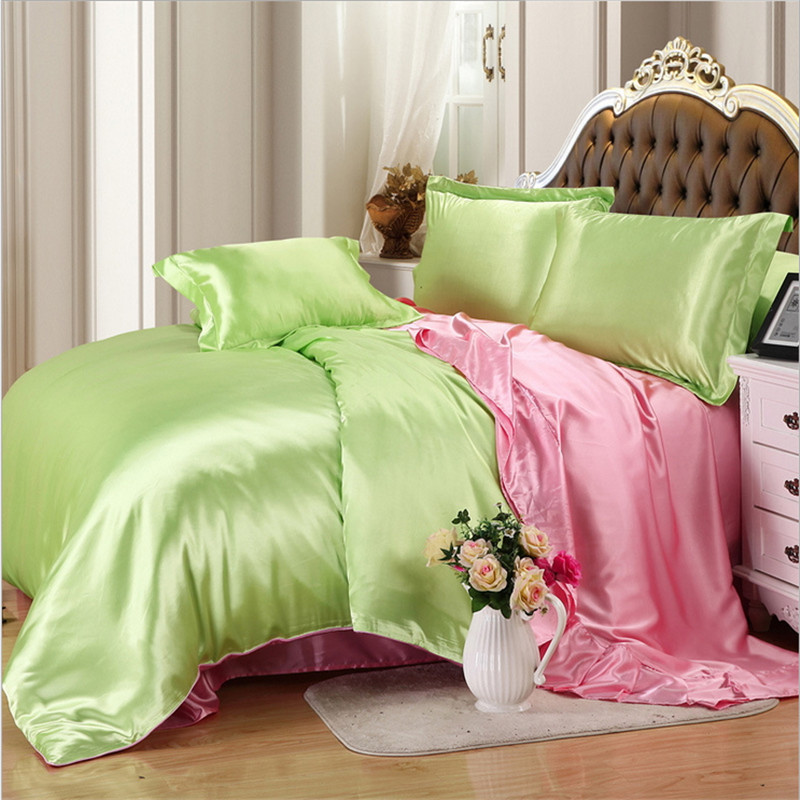 Luxury Silk Bedding Set Embroidery Bed Linens Tencel Satin Bed Sheet Set Jacquard Bedclothes Twin/Full/Queen/King Size Bed Cover