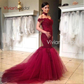 Sexy Burgundy Prom Dresses With Applique 2017 New Arrival Elegant Mermaid Prom Dress Hot Sale V-Back Party Gown