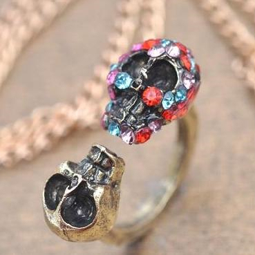 Free shipping~~DIY double skeletons ring for Valentine's day gift one with rhinestone