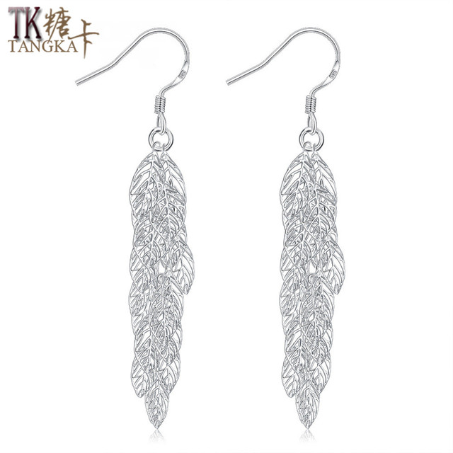 Tangka New Fashion Woman Leaves Earrings Long Section Tel Silver Celebration Party Wear Jewelry Accessories