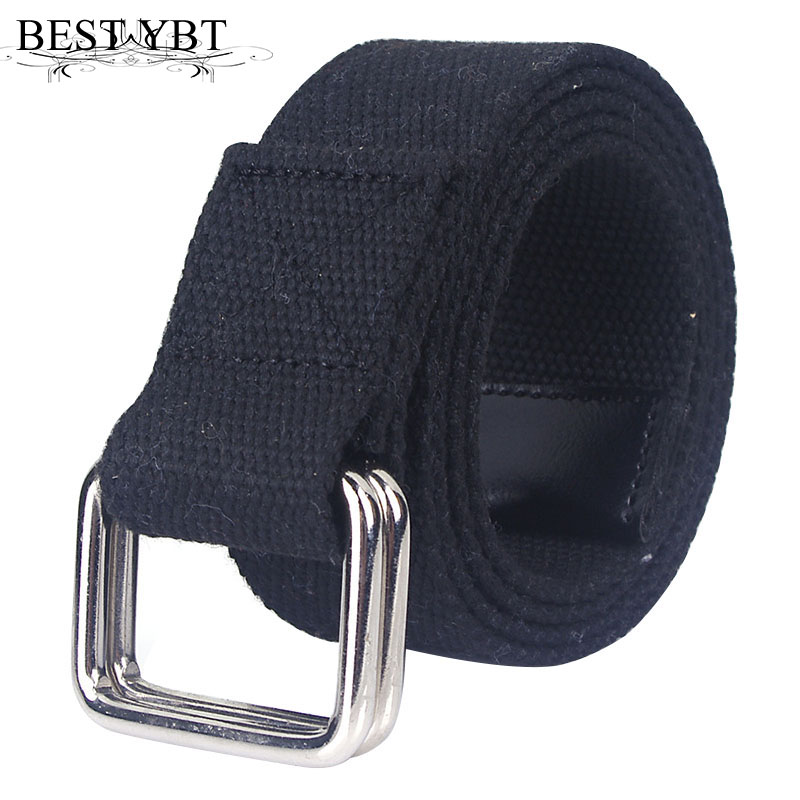 Best YBT Unisex Belt Canvas Alloy Double Ring Buckle Women Belt Cowboy Outdoor Sports Fashion Casual High Quality Men Belt