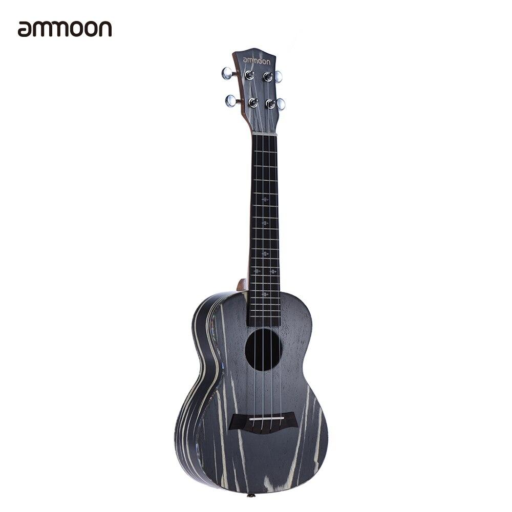 ammoon 24 Ukulele Acoustic Guitar 4 Strings Ukelele18 Frets Wooden Mini Guitar Okoume Neck Rosewood Fretboard