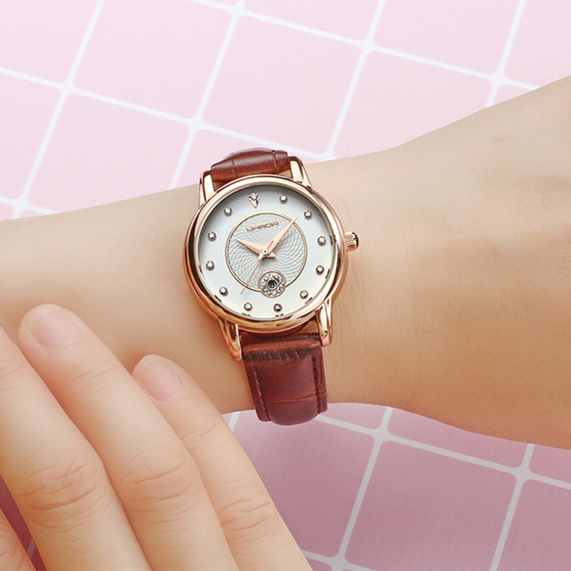 SANDA 198 Gold Creative Women Watches Leather Strap Calendar Watch Women Romantic Simple Quartz Wrist Watches relogio feminino in Women 39 s Watches from Watches