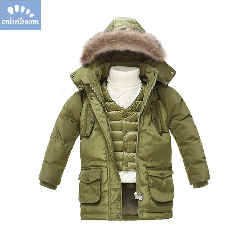 Niños invierno chaqueta 2016 NIÑOS 2-7 T Parka chaquetas blanco abajo marca  capucha abrigos + chaleco 2 piezas Sest Bebés Ropa Infantil b35090d4458f