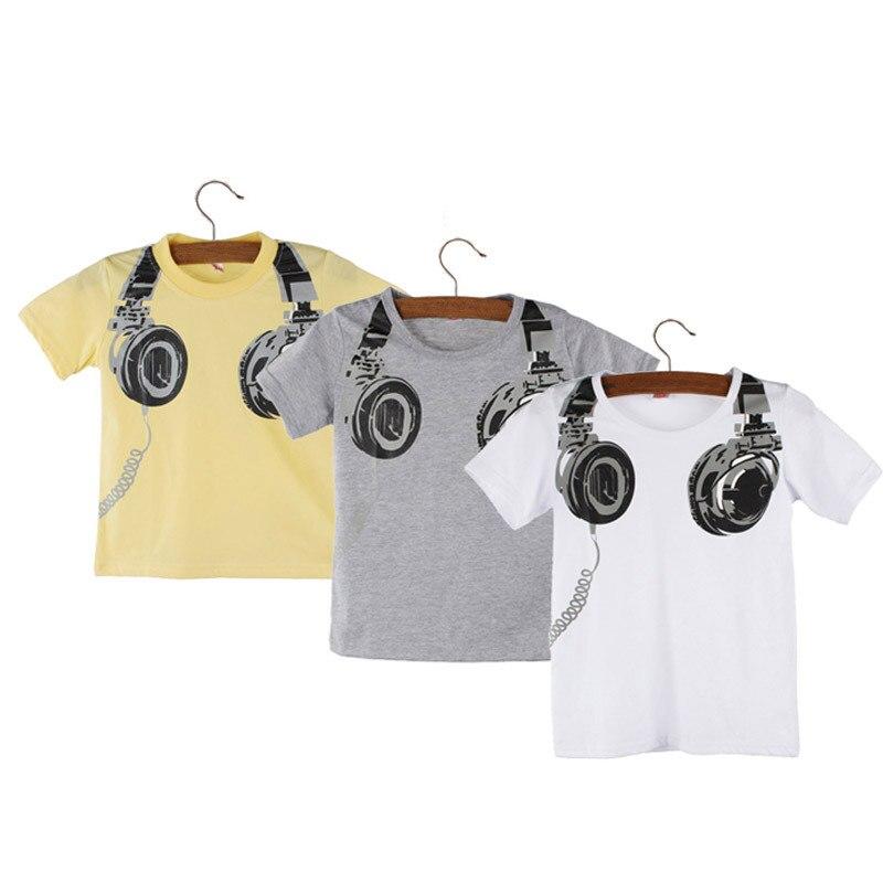 Boy Kids Summer Casual Headphone Short Sleeve Tops Blouses T Shirt 90 boys clothes summer 0308