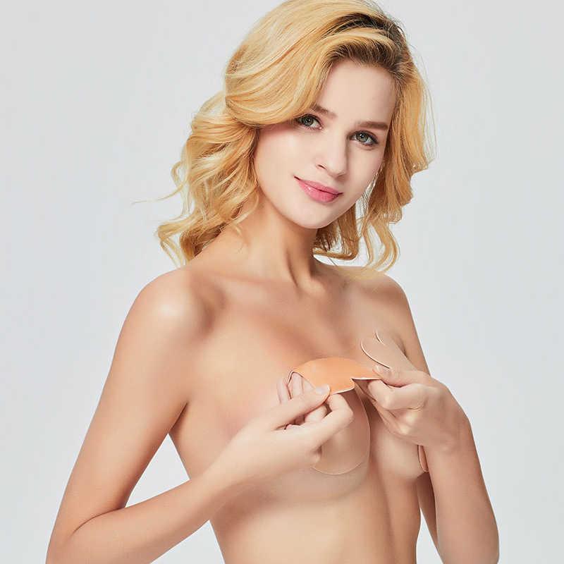 2019 nuevo sujetador adhesivo de mujer sin tirantes autoadhesivo pezón pecho Pasties cubierta reutilizable silicona Invisible almohadilla realzador sujetador