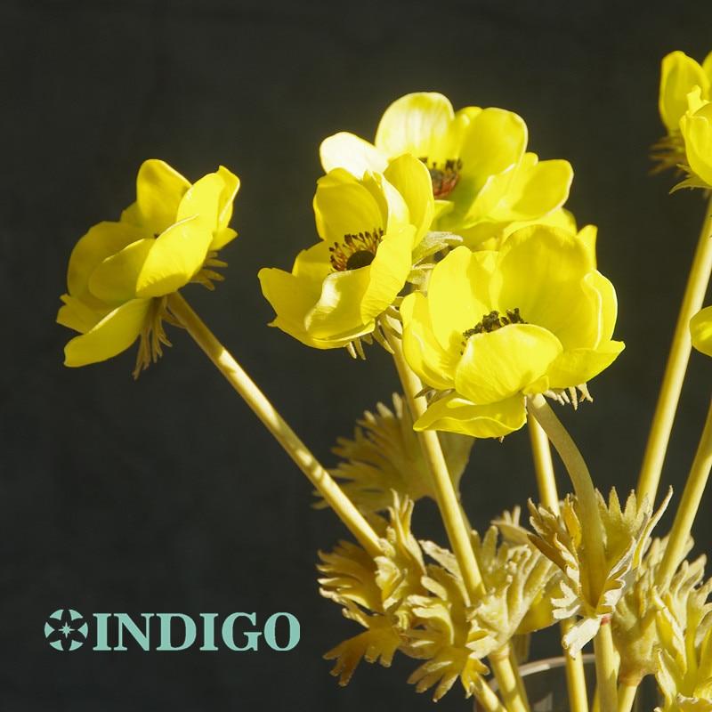 INDIGO- 9st PU Anemone Pasque Gul Daisy Blomma Hem Brud Bröllop - Semester och fester - Foto 6