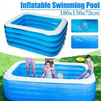 Kids inflatable Pool 180x150x72cm Children's Home Use Paddling Pool Large Size Inflatable Square Swimming Pool Heat Preservation