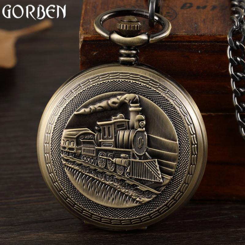 Retro Bronze Train Front Design Pocket Watch Carving Necklace Pendant Vintage Mechanical Pocket Watch FOB Chain Men Women Clock