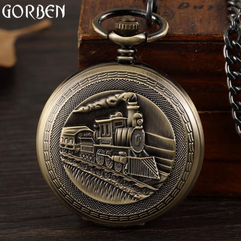Retro Bronze Train Front Design Pocket Watch Carving Necklace Pendant Vintage Mechanical Pocket Watch FOB Chain Men Women Clock