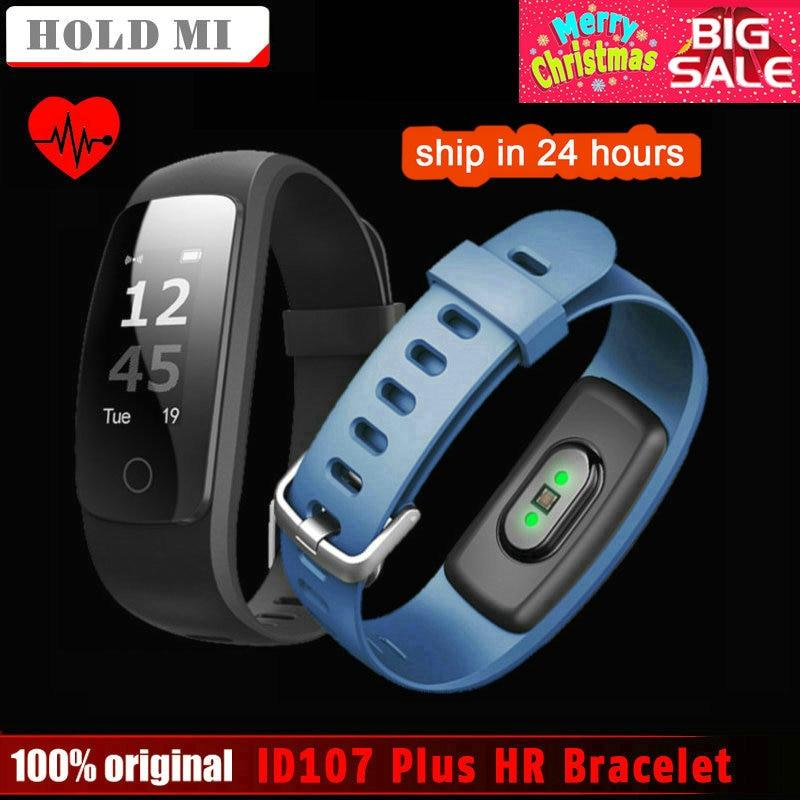 Espera Mi ID107 más HR banda inteligente Fitness pulsera Bluetooth actividad Deportes pulsera con monitor de ritmo cardíaco