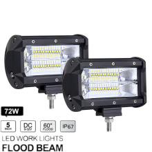 1Pair 5 72W Work Light Bar 24 LED Flood Driving Lamp Aluminium Fram for Jeep Truck Boat Offroad 12/24V 6000K WIth Bracket