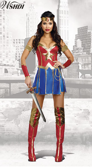 Adult Wonder Woman Costume Superhero Supergirl Women -8290