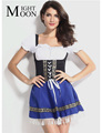 Moonight hot sexy azul rapariga solteira traje cerveja menina traje alemão oktoberfest costume fancy dress