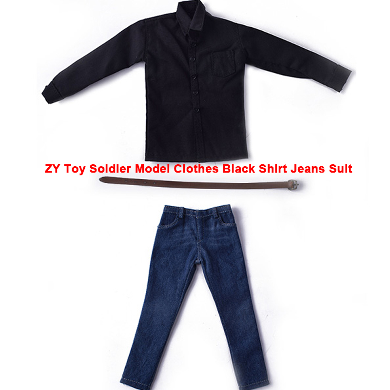 1:6 Scale ZY Toy Soldier Male/Man Model Clothes Black Shirt Jeans Suit fit 12 Action Figure Doll Toys