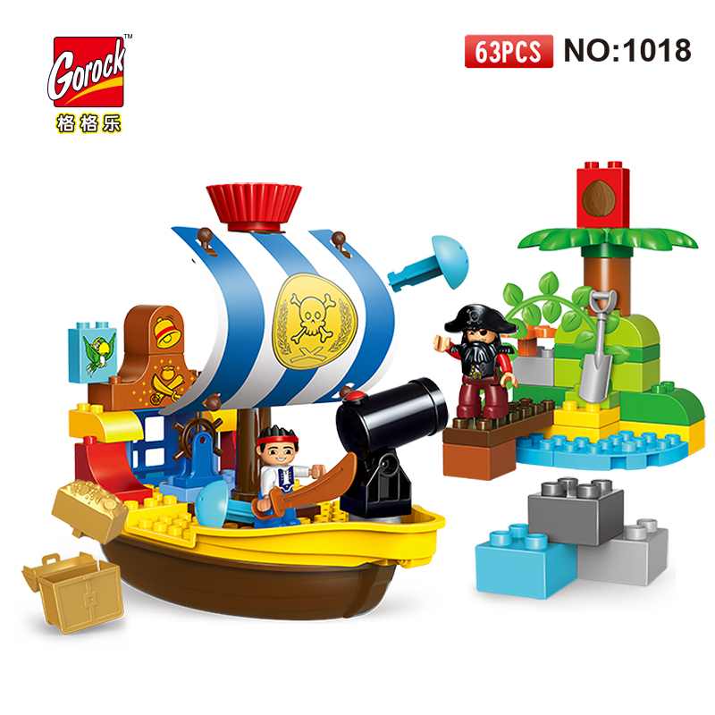 GOROCK 1018 Pirate Ship figure Big Building Blocks Model Set children Educational Bricks Toys Gift For Baby Compatible Duploe red pirate ship blocks compatible legoingly war pirate king character action diy bricks cannon building blocks toys for children