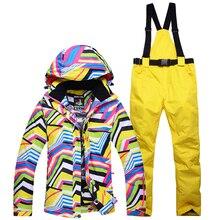 Barato traje Conjuntos de paso de cebra de Las Mujeres de la Nieve del invierno de esquí snowboard ropa de esquí impermeable a prueba de viento deportes al aire libre de las chaquetas + pantalones