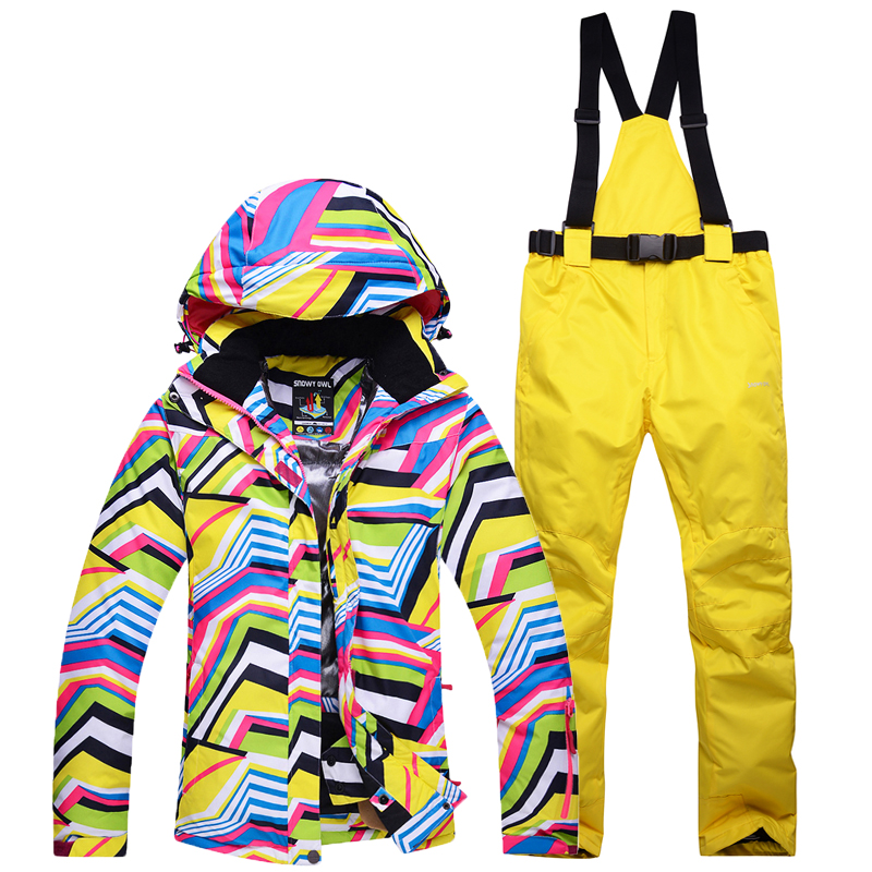 Più poco costoso Delle Donne di Neve vestiti Zebra crossing sci snowboard suit set antivento impermeabile sport all'aria aperta giacca e bavaglini mutanda