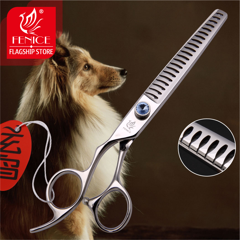 Professional Japan440C 7 inch pet dog grooming scissors thinning shears left hand use thinning rate 75
