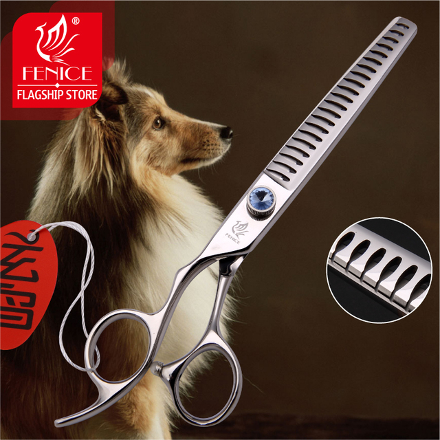 Professional Japan440C 7 inch pet dog grooming scissors thinning shears left-hand use thinning rate 75%