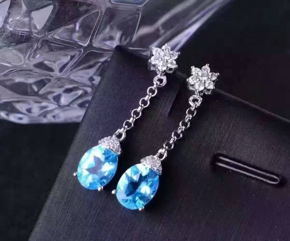 natural blue topaz stone drop earrings 925 silver Natural gemstone earring women fashion fine drop earrings jewelry for party natural blue or white opal drop earrings 925 silver natural gemstone earring for women trendy elegant drop earrings for party