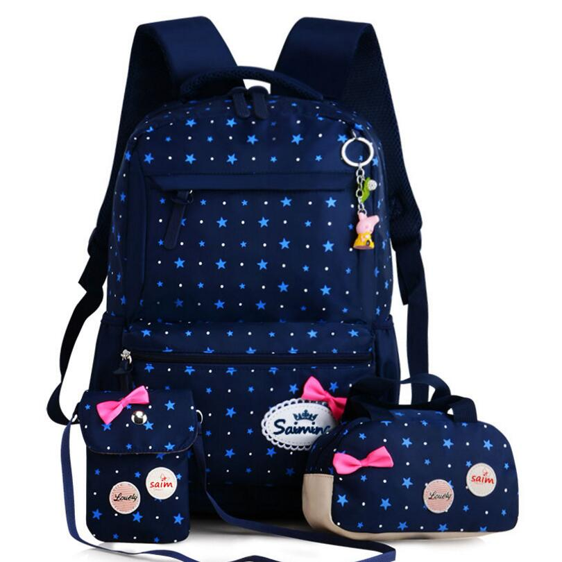 3pcs/Sets 2018 Women Travel Backpacks Printing School Bag Backpack Canvas Schoolbags For Teenage Girls Students Bag Back Pack