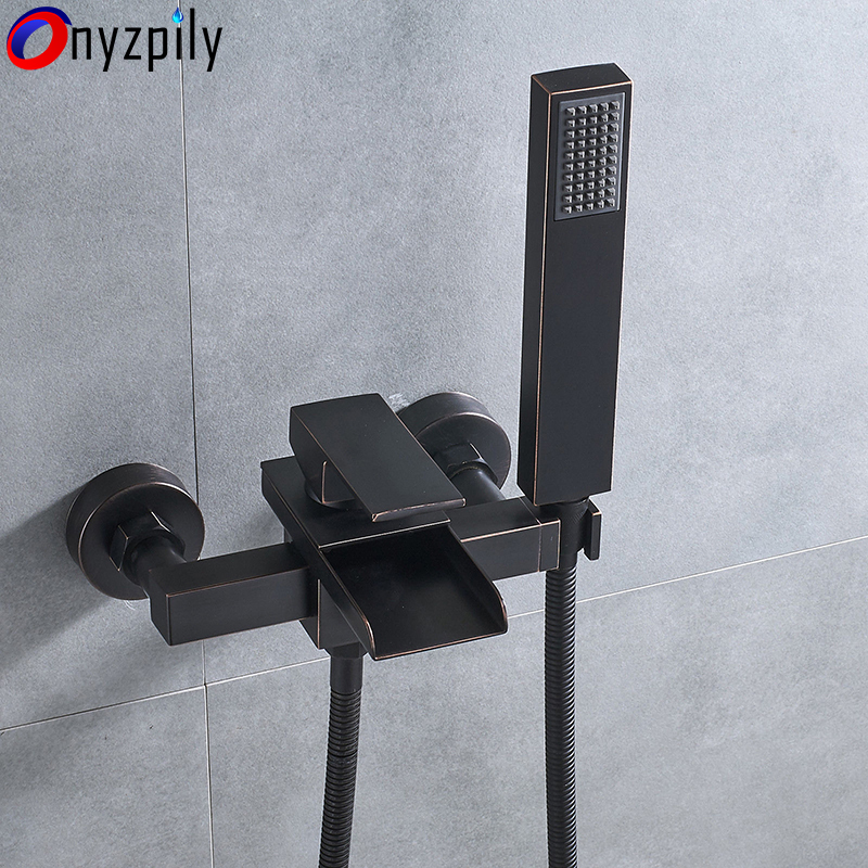 Oil Rubbed Bronze Wall Mount Tub Faucet Waterfall Single Handle Tap Hand Shower Hot&Cold Water Mixer Bathroom Faucet Toneria new oil rubbed bronze wall mount bathroom kitchen faucet mier tap dual handle