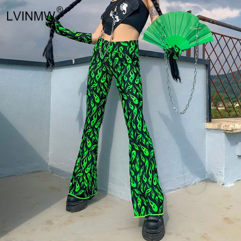 LVINMW Sexy High Waist Green Printed Wide Leg Pants 2019 Autumn Women Fashion Elastic Slim Flare Pants Female Streetwear Trouser