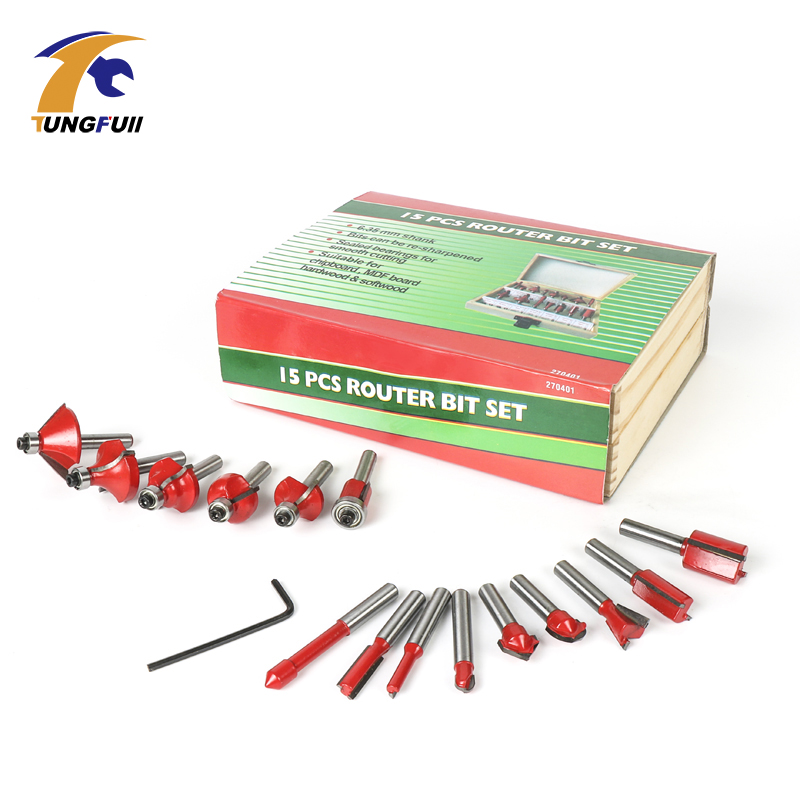 15PCS 1/4(6.35mm) Shank Tungsten Carbide Router Bit Set Wood Woodworking Cutter Trimming Knife Forming Milling w/ Wood Case box 1 2 5 8 round nose bit for wood slotting milling cutters woodworking router bits
