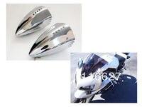 Chrome Motorcycle LED Turn Signal Pig Spotter Mirrors For Honda CBR 600 1000 RR Yamaha YZF