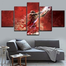 Decor Bedroom Wall Art Sport Painting HD Pictures 5 Pieces Modular Canvas Print Abstract Artistic Basketball Player Poster
