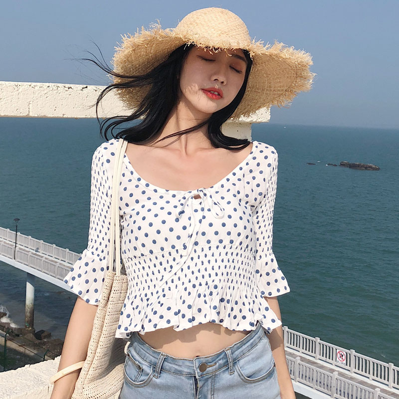 Sexy short blouse dot pattern tops summer woman short sleeve crop tops white black shirts fit slim blouses clothes vintage shirt