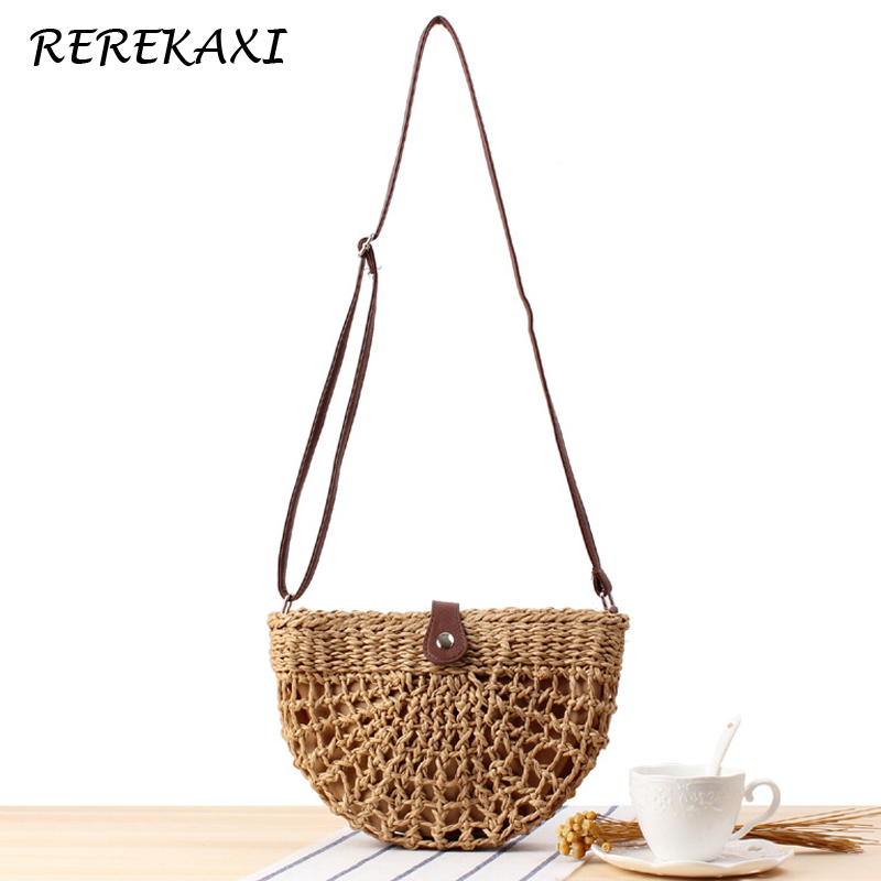 <font><b>REREKAXI</b></font> Semicircle Women Shoulder Bag Summer Woven Hollow Beach Bags Bohemian Handmade Straw Bag Female Messenger Bags Handbag image