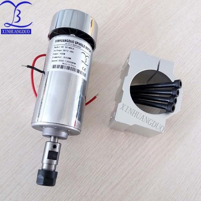 52mm CNC broche 400 w ER11 mandrin DC 12-48 v 400 W broche moteur CNC pour Machine de gravure + pince ER11 3.175 MM pour gravure PCB