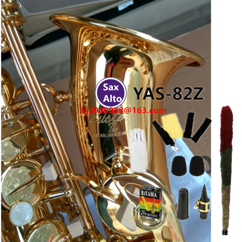 купить Japan YAS-82z New Custom Alto Saxophone Gold Lacquer Brass Instruments Professional Sax Mouthpiece With Case and Accessories по цене 21252.62 рублей