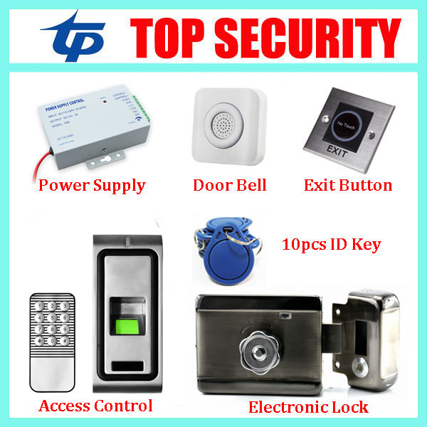 Standalone fingerprint door access control system with keypad+power supply+electronic lock+exit button+wrie bell+10pcs RFID key