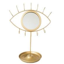 Quail Creative Eye / Rabbit Shape Makeup Mirror,Nordic Style,Gold Trim,Decorative Mirror,with Jewelry Hook,Storage Tray