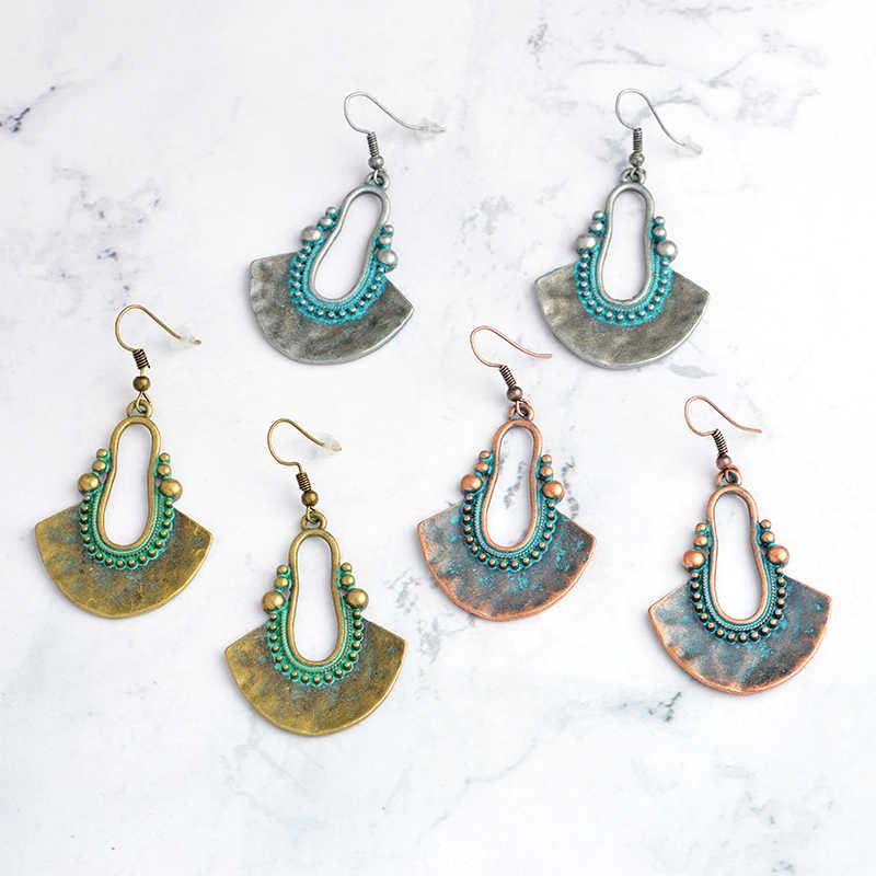 3 色ヴィンテージブロンズシャンデリアドロップピアス女性エスニックジュエリーボヘミアンスタイルのファッションジュエリー女性のための卸売