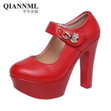 Plus Size 32-43 Rhinestone Wedding Shoes Block Heels Pumps Women 2021 White Silver Red Extreme High Heel Shoes Platform