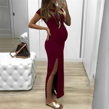 Women Dress Solid Tight-fitting Long Pregnant Dresses Short Sleeve Open Fork Maternity
