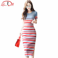 Slim Knitted Colorful Striped Vestidos Mid-Calf Length Slit Summer Short Sleeve Bodycon Sexy Dresses Pencil Women Cloth 2017