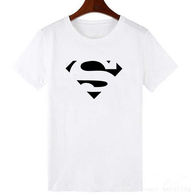 Papel grande Clips Superman Logo LettersFunny mujer ropa camiseta moda cómoda S-XXL camiseta suelta Simple