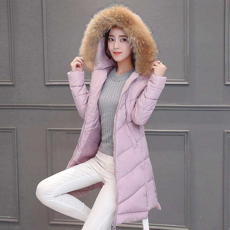 Kalınlaştırmak Pamuk Aşağı Ceket 2016 Sonbahar Ve Kış Yeni Moda Kapüşonlu sahte Kürk Tam Kol Slim Fit Katı Renk Uzun Abrigos Mujer
