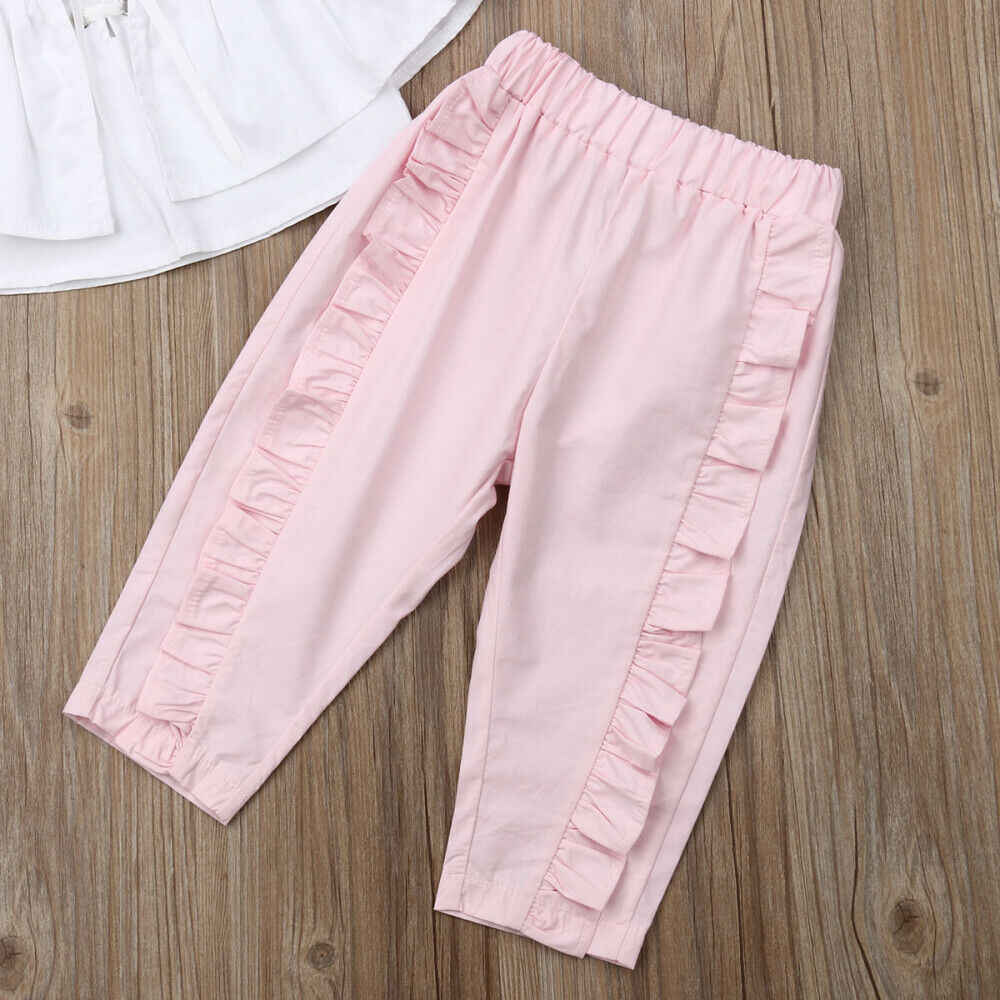 """ארה""""ב הפעוט ילדים תינוקת בגדים לפרוע צמרות חולצה ארוך מכנסיים קיץ סיבתי כותנה תלבושות סט 2 PCS"""