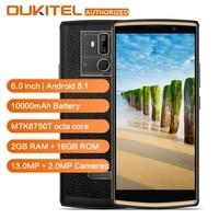 OUKITEL K7 Мощность 4G LTE смартфон 10000 mAh 6,0 дюйма HD + Android 8,1 MT6750T Восьмиядерный отпечаток пальца 2G Оперативная память 16G Встроенная память мобильног