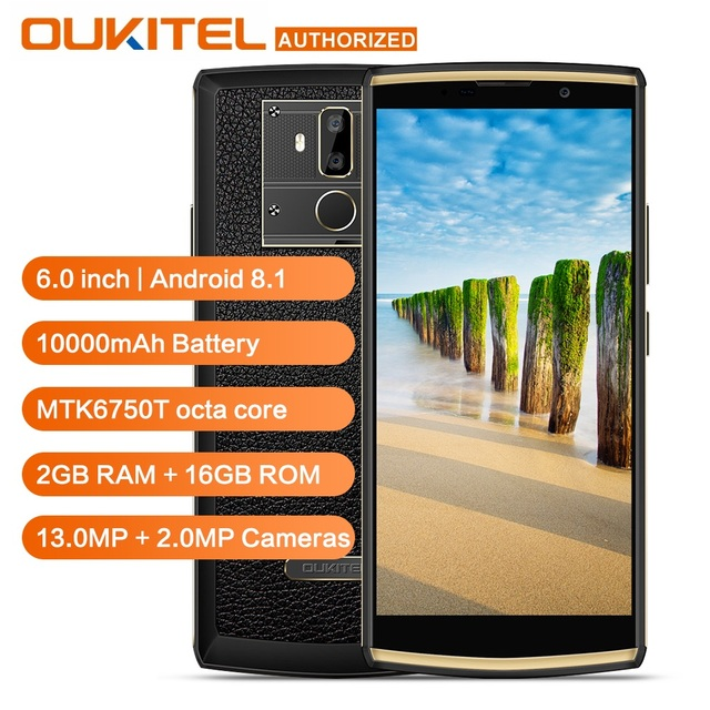 OUKITEL K7 Power 10000mAh 4G Smartphone 6.0 inch HD+ Android 8.1 MT6750T Octa Core Fingerprint 2G RAM 16G ROM Mobile Phone